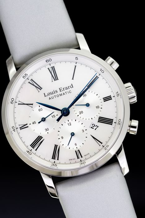 Louis Erard - Automatic Chronograph White Mother of Pearl Dial Excellence Collection Swiss Made - 84234AA04.BDS93 - Damen - BRAND NEW
