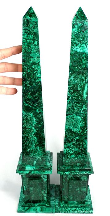 Gaints Two Old Malachite Obelisk - 495×100×100 mm - 6750 g - (2)