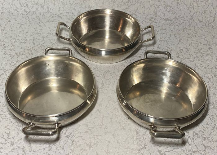 3 casserole dishes for serving - Silverplate