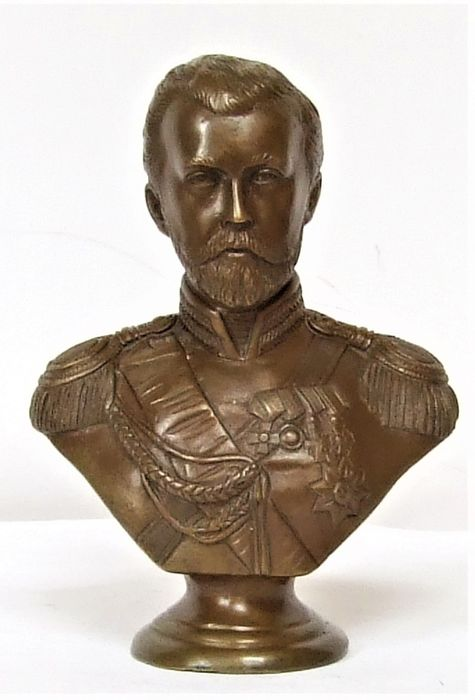 Marked AEK - Sculpture, bust of the last Tsar of Russia, Nicholas II - Bronze - Early 20th century
