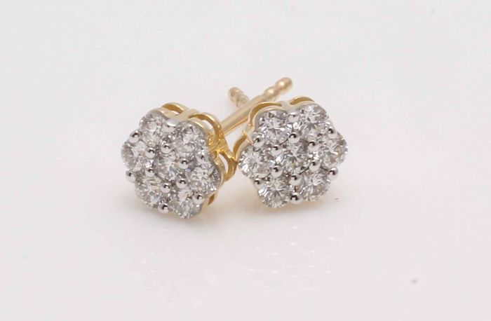 14 kt. Yellow gold - Earrings - 0.50 ct Diamond
