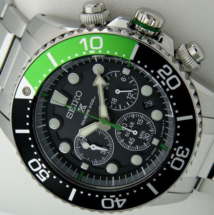 "Seiko - Solar Chronograph Diver's 200m ""Black-Green"" - ""NO RESERVE PRICE"" - Homem - 2019"