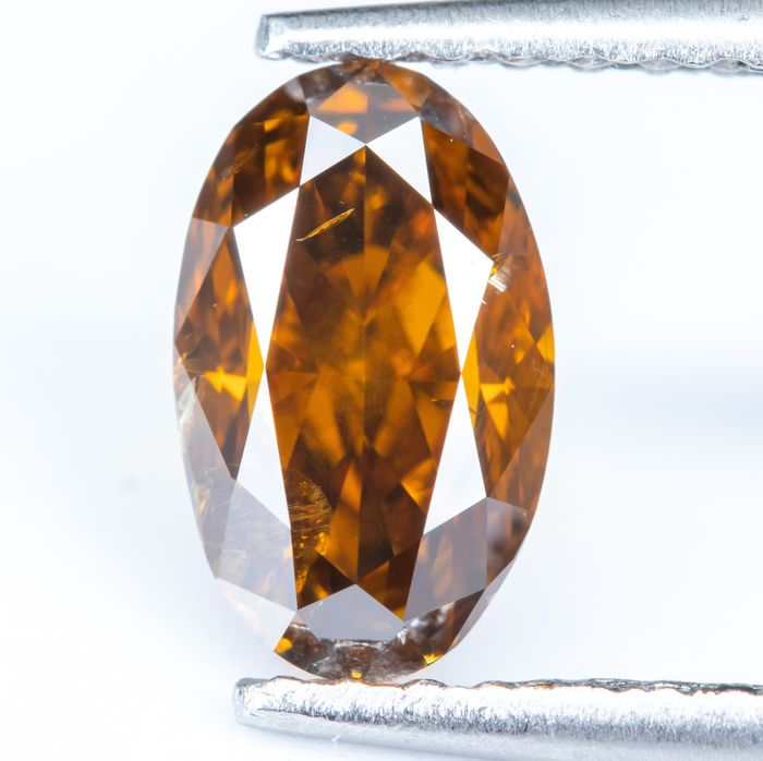 Diamond - 1.01 ct - Natural Fancy Dark Yellowish Orange - I1  *NO RESERVE*
