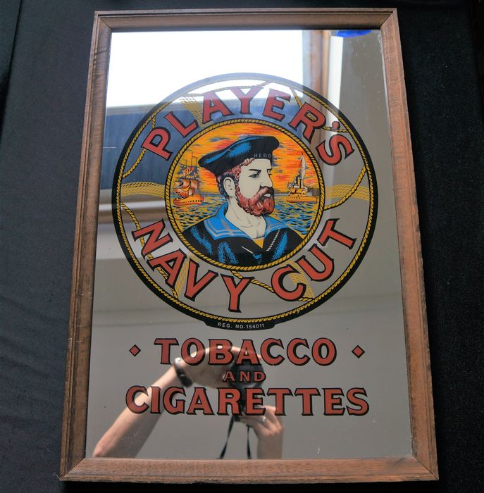 Player's Navy Cut Tobacco & Cigarettes advertising mirror - Glass, Wood