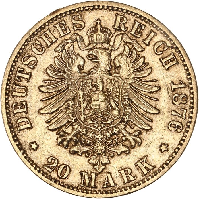 Allemagne - Saxe - 20 Mark 1876-E Albert - Or
