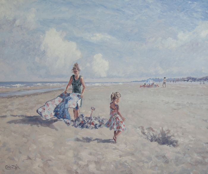 "Chris van Dijk - ""Mother and daughter settling on the beach """""