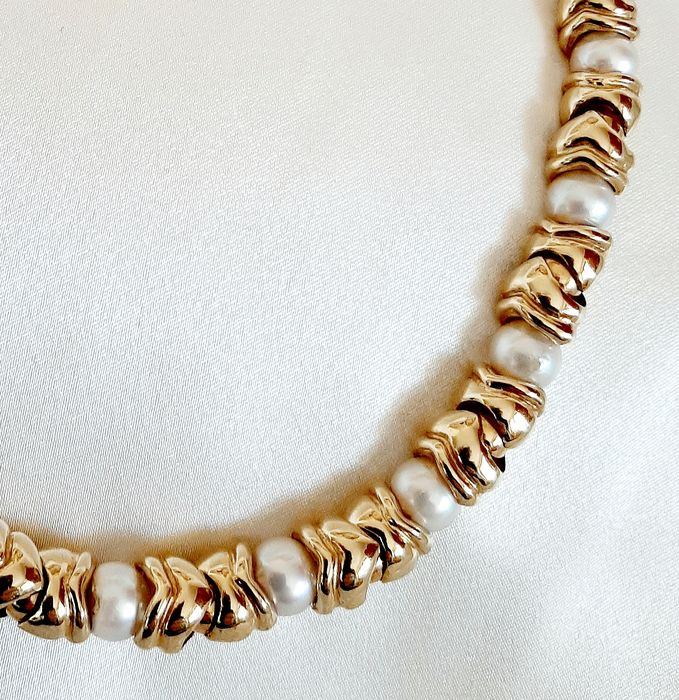18 kt. Yellow gold - Necklace - Pearls