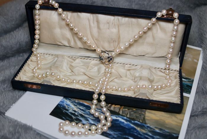 14 kt. Akoya pearls, White gold, 7 -7.7 mm - Necklace, with clasp brooche - 0.51 ct Sapphire