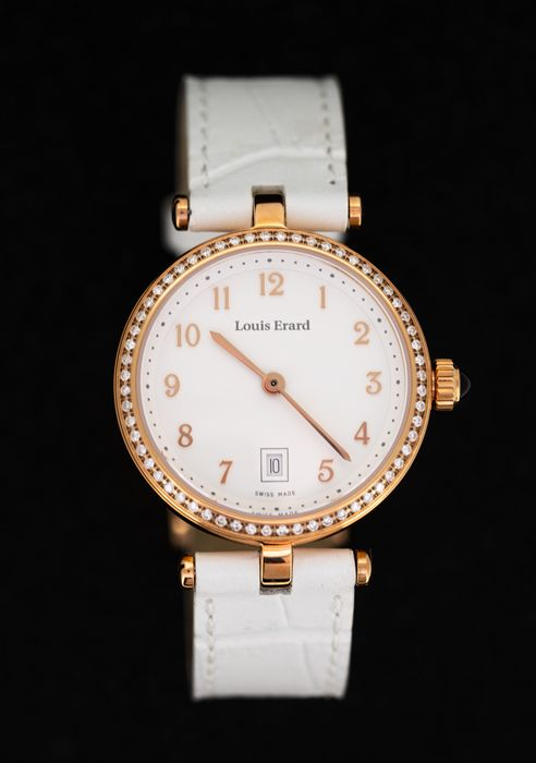 Louis Erard - 60 Diamonds for 0.30 Carat Cabochon Sapphire Romance Collection White Rose Gold Swiss Made - 10800PS40.BRCA1 - Damen - BRAND NEW