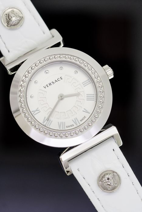"""Versace - Vanity Collection White leather strap Swiss Made - """"NO RESERVE PRICE"""" P5Q99D001S001 - Femme - 2011-aujourd'hui"""