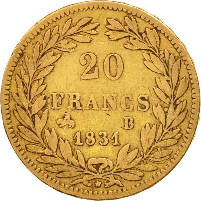 France - 20 Francs 1831-B Louis Philippe I - Or