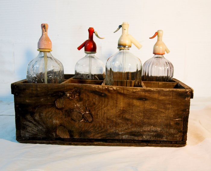 old siphon box with 4 siphons - wood and glass