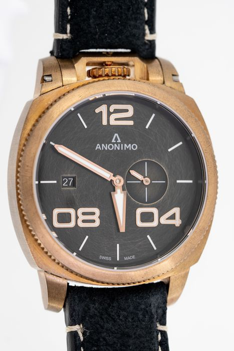 """Anonimo - Automatic Militare Bronze Black with Hand Made Italian Leather Strap - AM-1020.04.001.A01 """"NO RESERVE PRICE"""" - Men - BRAND NEW"""