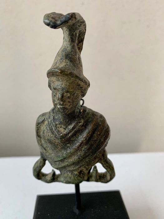 Ancient Roman Bronze Military object, representing a Legionary or the Bust of the God Mars, god of War. - 9×4.5×1.5 cm