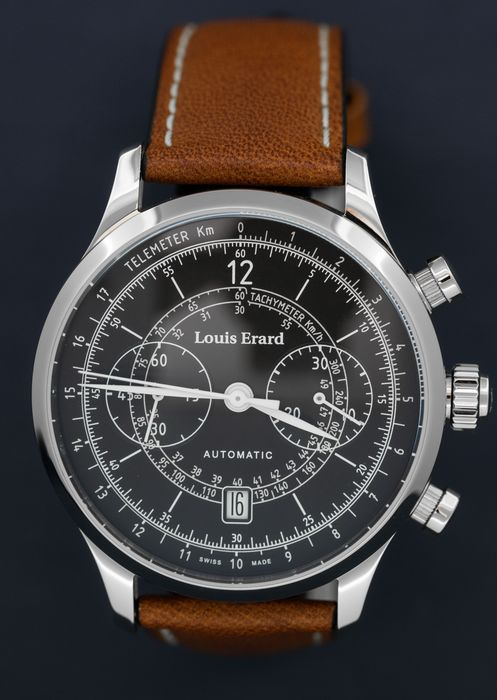 Louis Erard - Automatic Chronograph Excellence Vintage Collection Brown leather strap Swiss Made - 71245AA02.BVD01 - Herren - Brand New