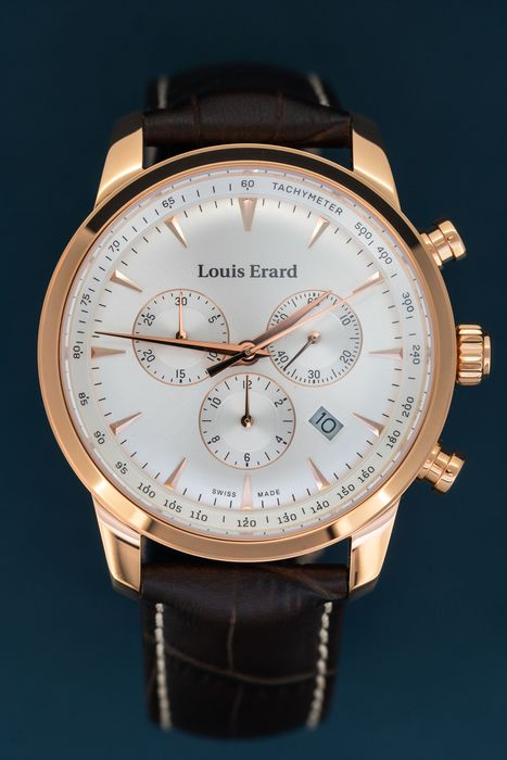 Louis Erard - Heritage Chronograph Rose Gold Plated Stainless Steel Swiss Made Brown Leather Strap - 13900PR11.BRC101 - Herren - BRAND NEW