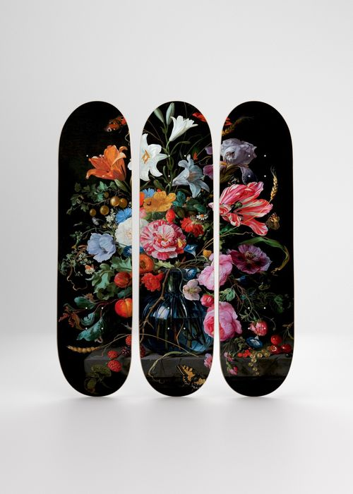 Jan Davidz de Heen (after) - Flowers 09, Triptych Skateboard