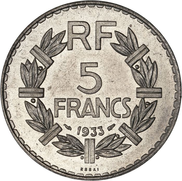 France. IIIe République (1870-1940). 5 Francs 1933 Lavrillier - Essai en Nickel