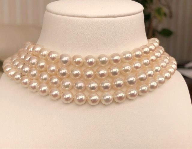 JKA - 18 kt. Akoya pearls, White gold, 6.53 mm - Necklace Pearl