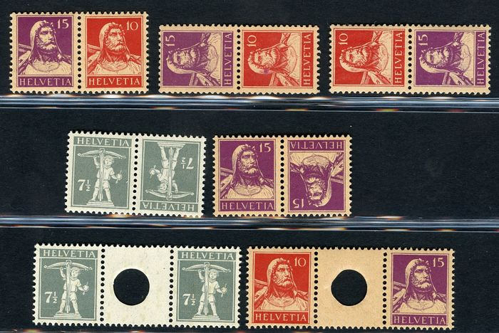 Switzerland 1915/1917 - Tell - Tête-bêches and gutter pairs - Zumstein NN. W1 - S1 - S3 - K11 - K12 - WZ9A - WZ10A