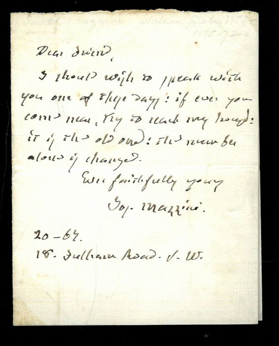 Giuseppe Mazzini - Autograph; Request for a meeting with a friend - 1867