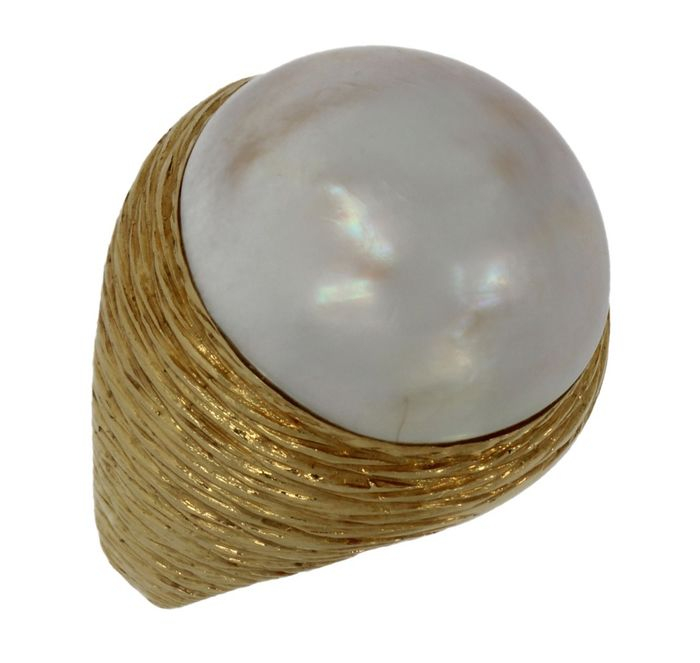 18 kt. Yellow gold - Ring Mabe pearl