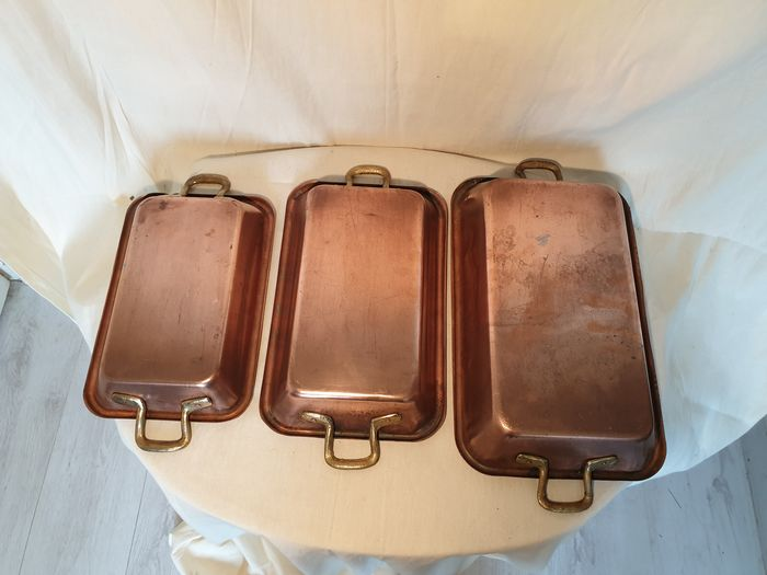 Set of 3 large heavy red copper antique roasting dishes - Copper