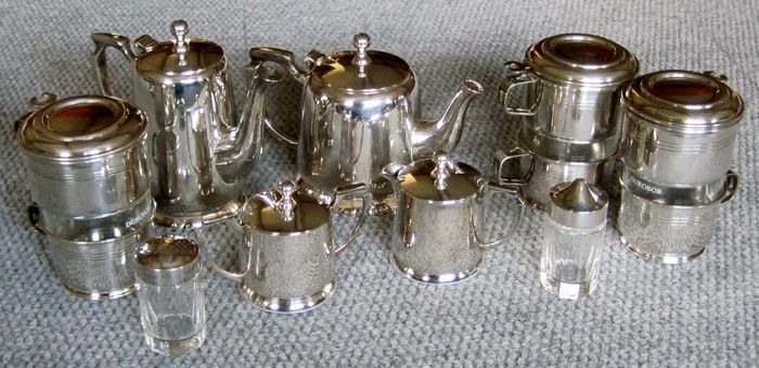 Koffieservies (9) - Art Deco - Verzilverd
