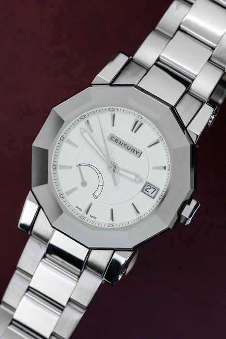 Century Swiss - Sapphire Case Automatic Chronometre COSC White Power reserve Steel Bracelet - 6067RM2i13SM - Men - BRAND NEW