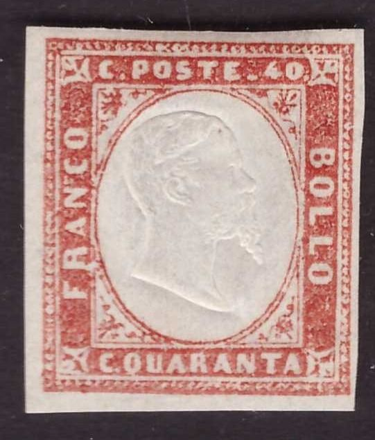 Italian Ancient States - Sardinia 1857 - 40 cents light orange vermilion 4th issue - Sassone N. 16Ab