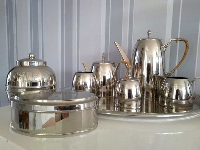 Koffie/thee set (8) - Staal