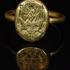 Byzantine Gold Ring with Jesus Christ and Angels