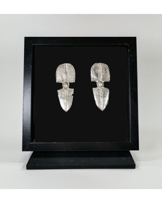 Gothic Silver Pair of Brooches in Frame