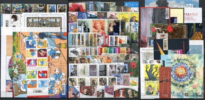 Belgique 2008 - Complete year with blocks - OBP / COB 3741/3866 + BL 150/164