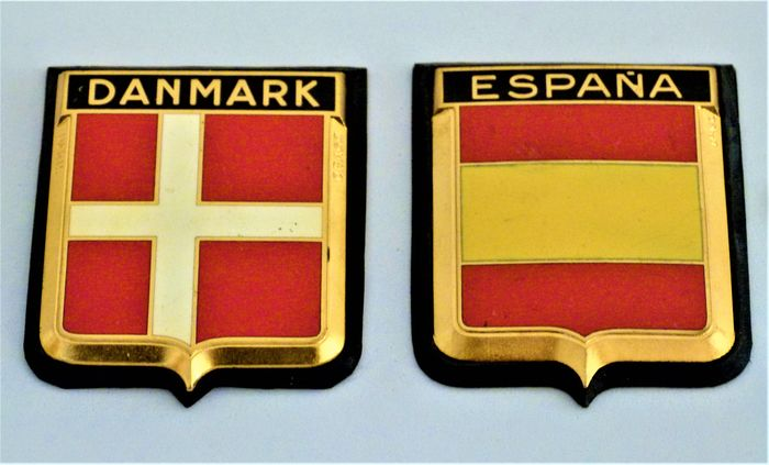 Badge - Danmark and Espana car Badge - Vintage Brass and Enamel - Drago - 1960-1970