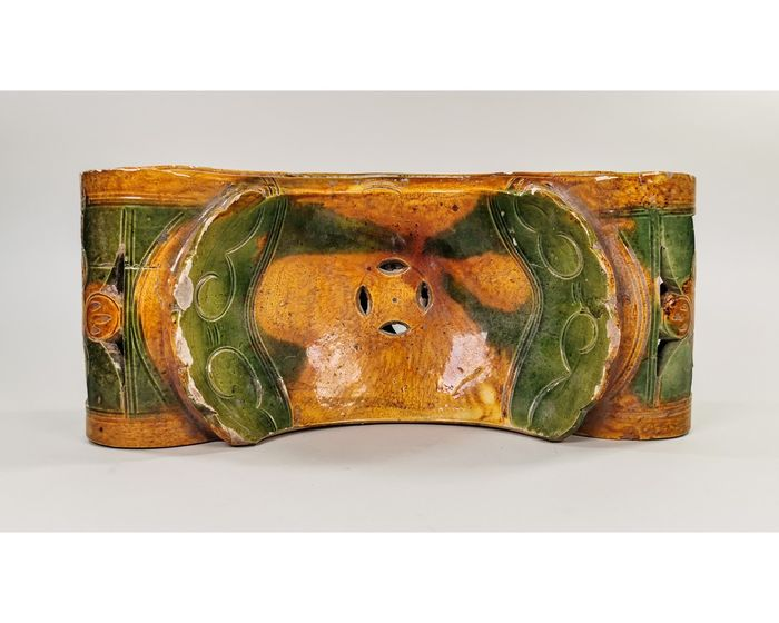 Chinese Ming Dynasty Glazed Terracotta Tomb Pillow