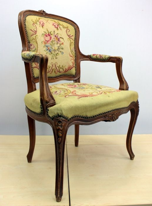 Women's armchair with petit point - Louis XV Style