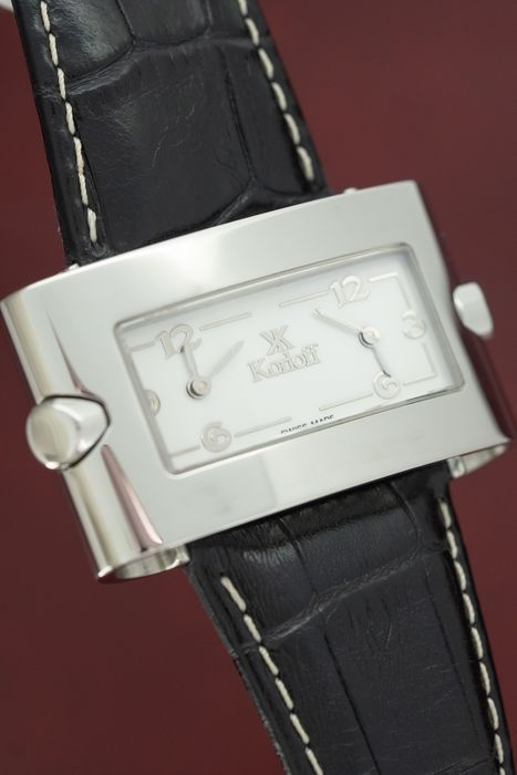 Korloff - Two Time Zones White Mother of Pearl dial White Horizon Collection Leather Strap Swiss Made - GKH1 - Damen - BRAND NEW