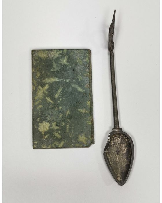 Ancient Roman Stone Medical Pad and Silver Spoon