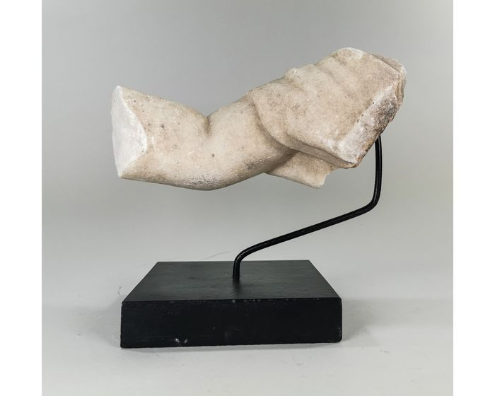 Ancient Greek, Hellenistic Marble Arm and Drape on Stand