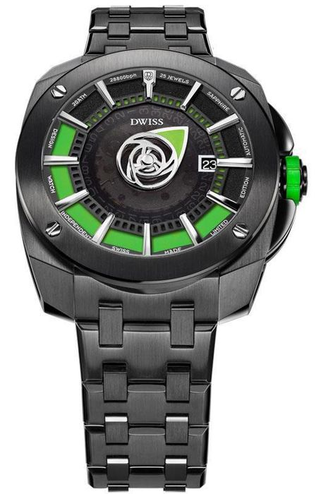 DWISS - Automatic Mysterious Time Collection Green with IP Black Stainless Steel Bracelet Swiss Made - RS1-BG - Hombre - Brand New