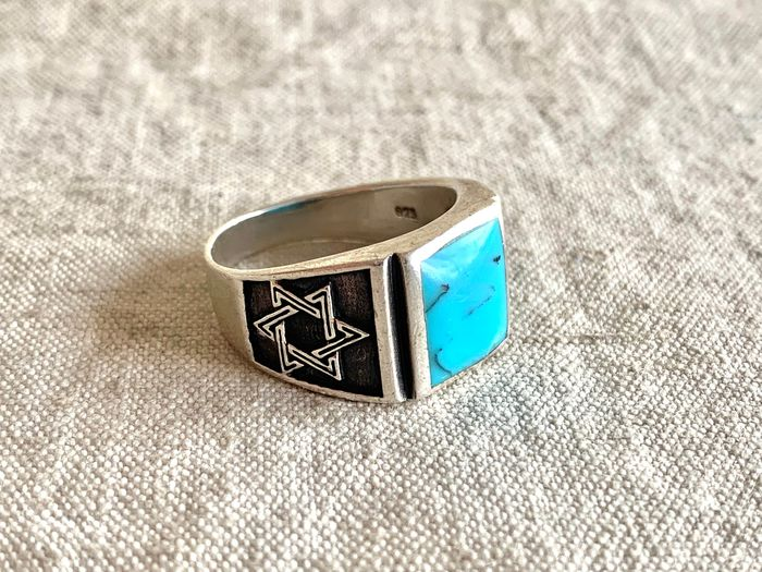 judaica - a magnificent ring mounted with turquoise stone - Star of David - unisex   - .925 silver - Yifat Aharoni  - Israel - Mid 20th century