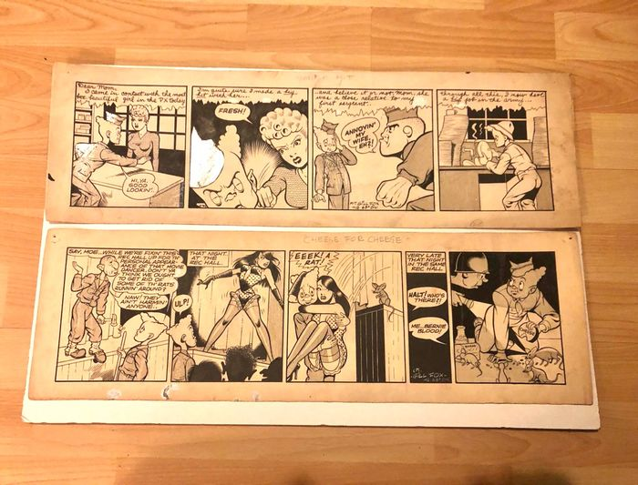 Bernie Blood - Gill Fox Original Art Comic Strip - First edition (1945)