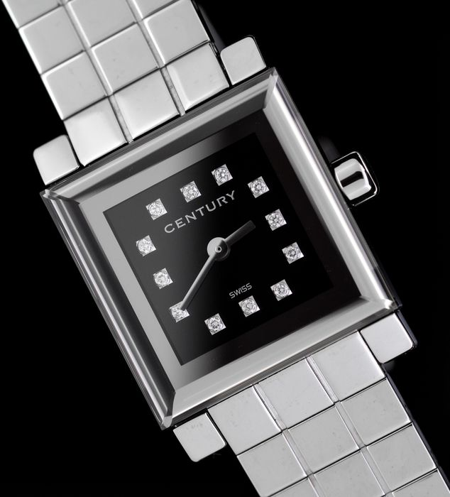 Century Swiss - Sapphire Diamond Watch Chill Out S Black 22m with Steel Bracelet - 9007S5211SQ - Dames - BRAND NEW