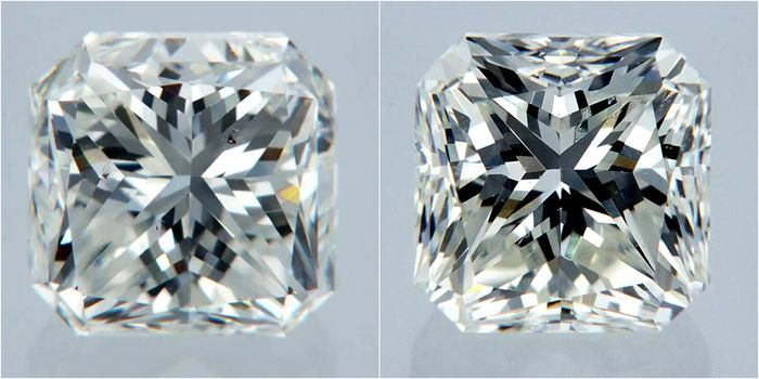 2 pcs Diamonds - 2.03 ct - Radiant - F - VS1, VS2