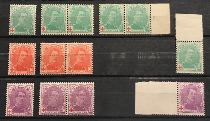 Belgique 1914/1915 - Red Cross issue - Albert I - Including nuances and types I and II - OBP / COB 129-131