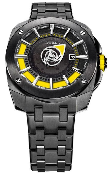 DWISS - Mysterious Time Yellow with IP Black Stainless Steel Bracelet Automatic  Top Grade Movement - RS1-BY - Herren - Brand New