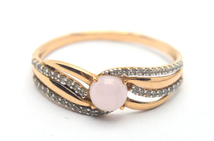 585 Gelbgold - Ring - 0.22 ct Diamanten - Rosa Quarz