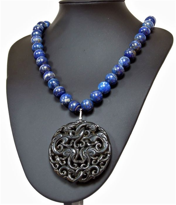 Buddisht amulet - Chinese Natural Two sided Dragon - Hand Carving and necklace Lapis Lazuli - Lapis Lazuli -  maybe agate