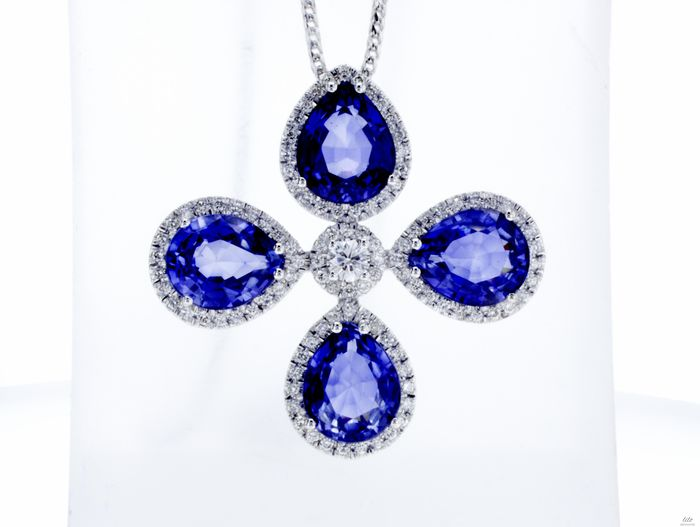 Lilo Diamonds - 14 carats Or blanc - Pendentif - 12.00 ct Saphir - 1.10ct Diamants D / VVS